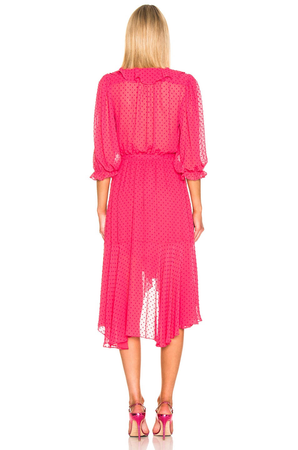 Image 3 of ICONS Objects of Devotion 3/4 Sleeve Cha Cha Wrap Dress in Deep Pink