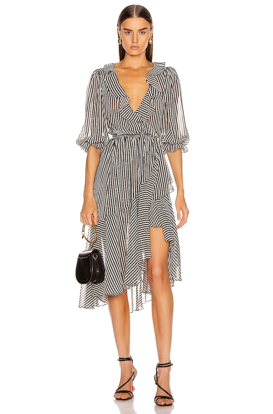 Image 1 of ICONS Objects of Devotion The Cha Cha Dress in Black & White Stripe