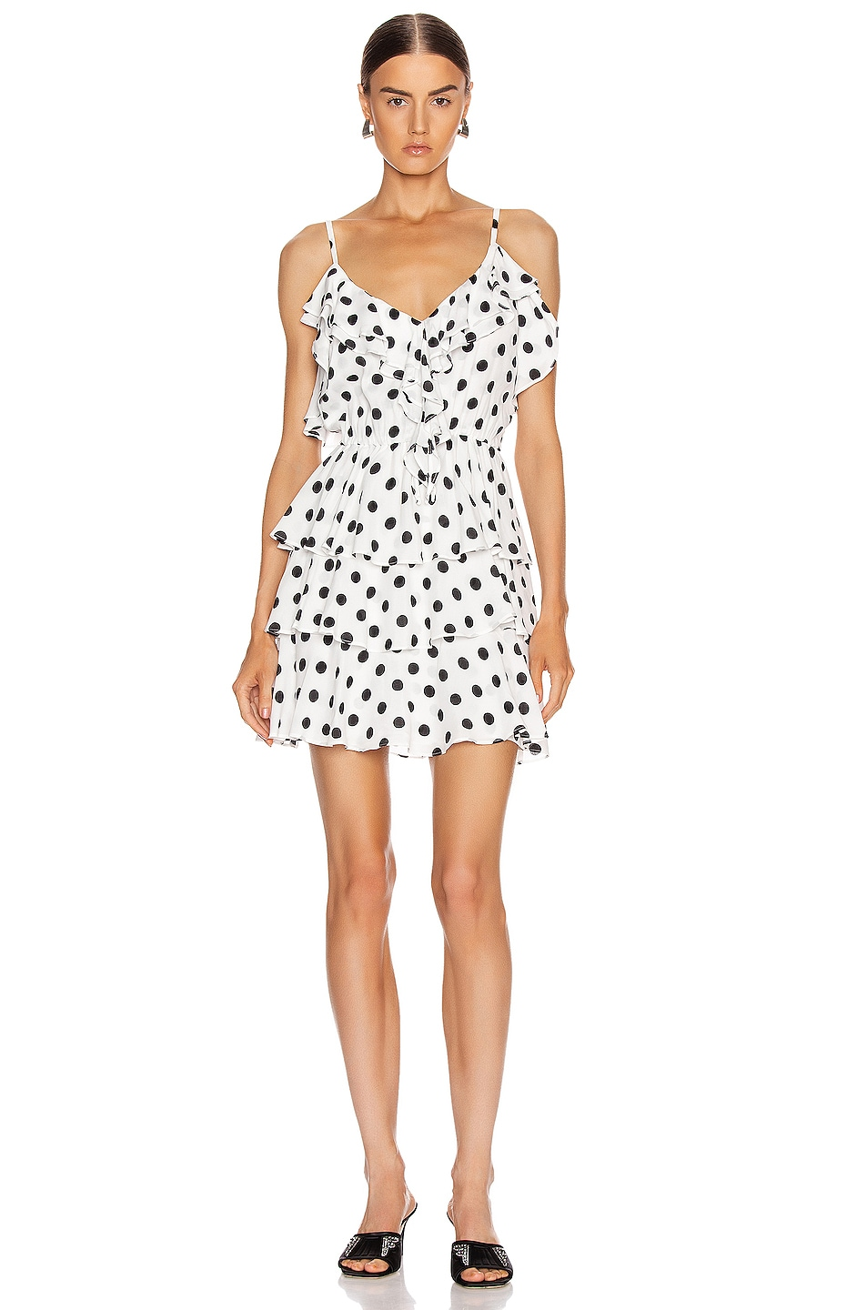 Image 1 of ICONS Objects of Devotion Ruffle Stacked Mini Dress in White & Black Polka Dot