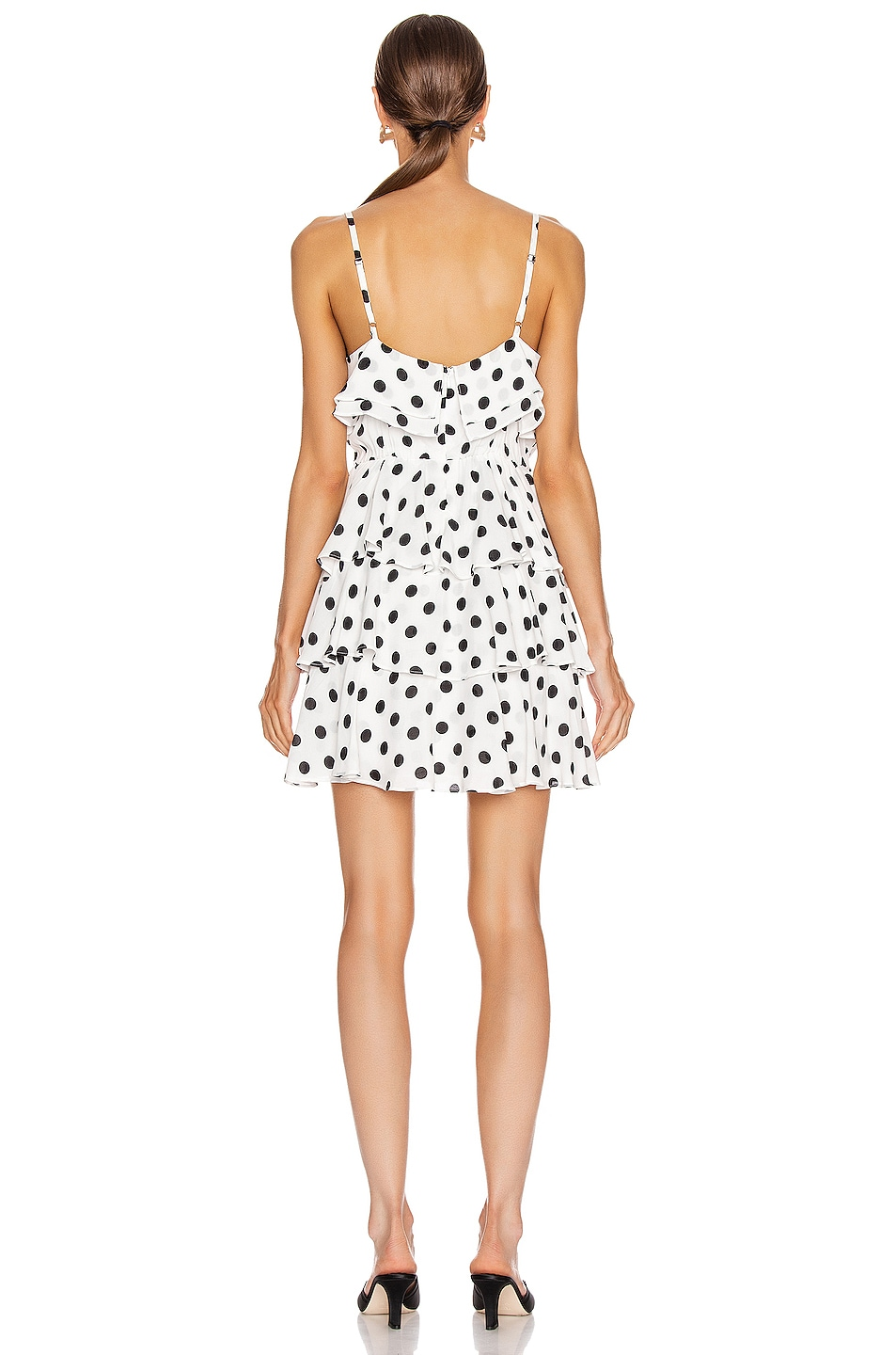 Image 3 of ICONS Objects of Devotion Ruffle Stacked Mini Dress in White & Black Polka Dot