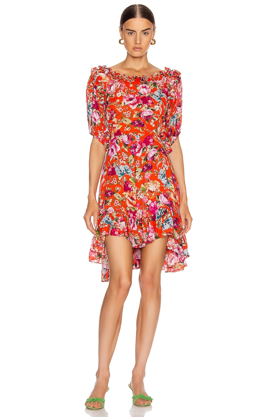 Image 1 of ICONS Objects of Devotion Babydoll Dress in Red Floral
