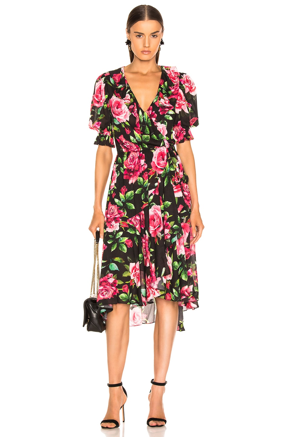 Image 1 of ICONS Objects of Devotion Cha Cha Wrap Dress in Black Rose