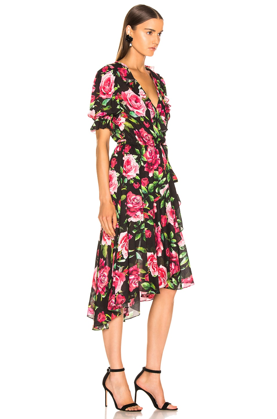 Image 2 of ICONS Objects of Devotion Cha Cha Wrap Dress in Black Rose