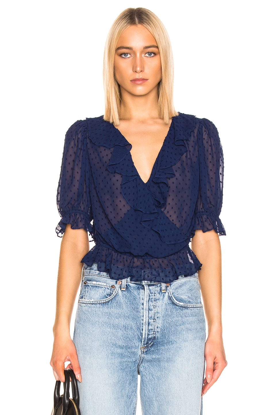 Image 1 of ICONS Objects of Devotion Cha Cha Blouse in Bright Navy