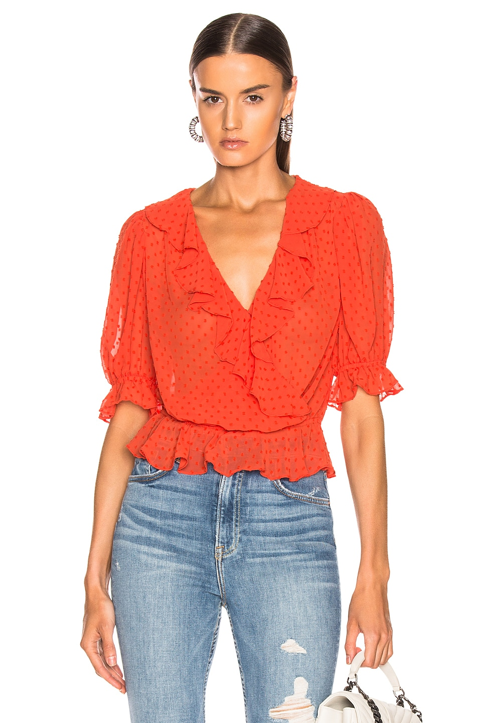 Image 1 of ICONS Objects of Devotion Cha Cha Blouse in Hot Orange