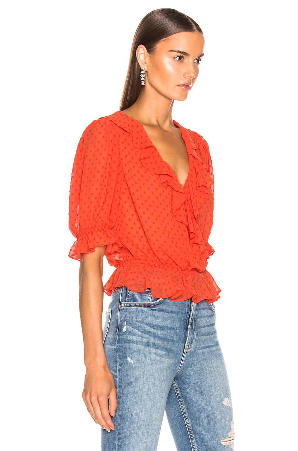 Image 2 of ICONS Objects of Devotion Cha Cha Blouse in Hot Orange