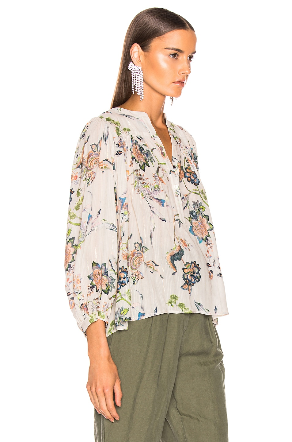 Image 2 of ICONS Modern Poet Top in Ivory Jaipur Floral