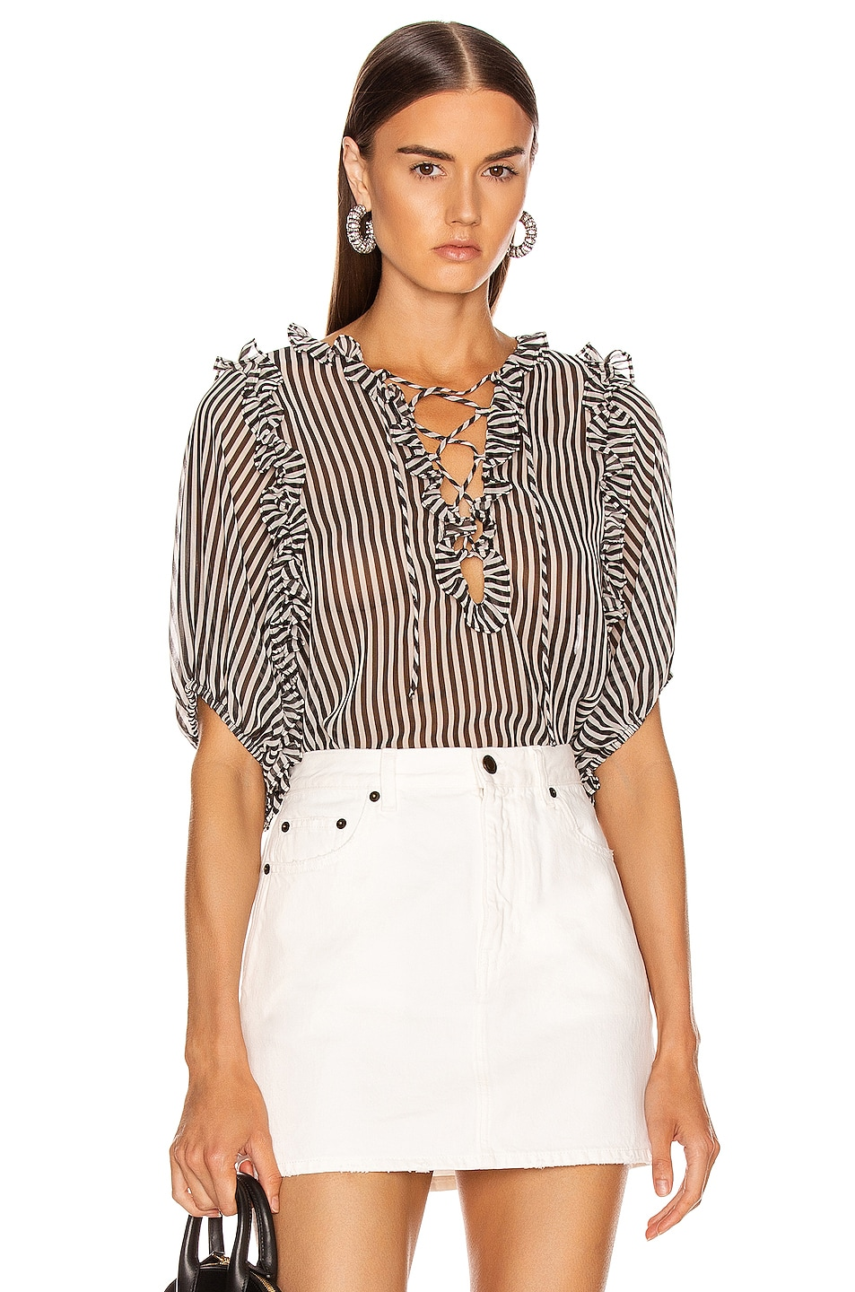 Image 1 of ICONS Objects of Devotion Ruffle Lace Up Blouse in Black & White Stripe