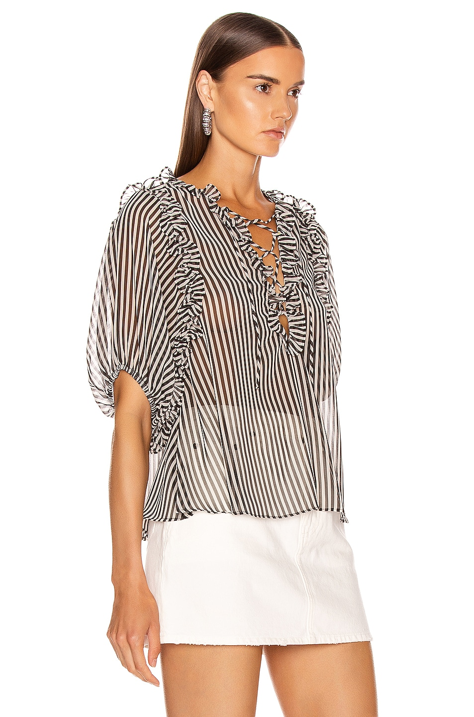 Image 2 of ICONS Objects of Devotion Ruffle Lace Up Blouse in Black & White Stripe