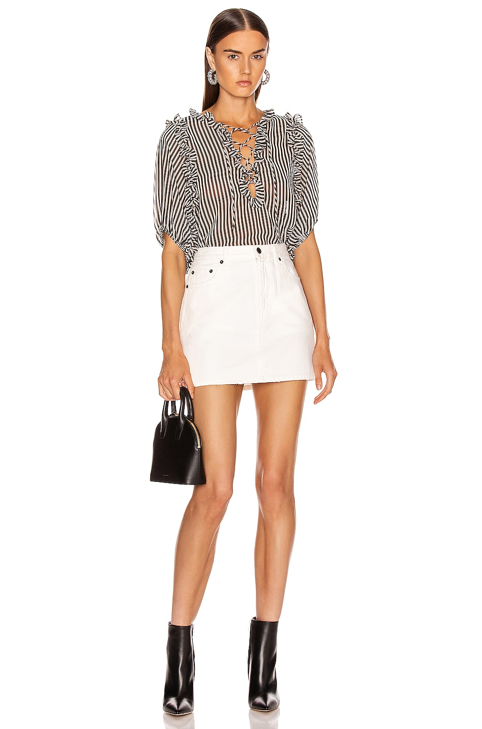 Image 4 of ICONS Objects of Devotion Ruffle Lace Up Blouse in Black & White Stripe
