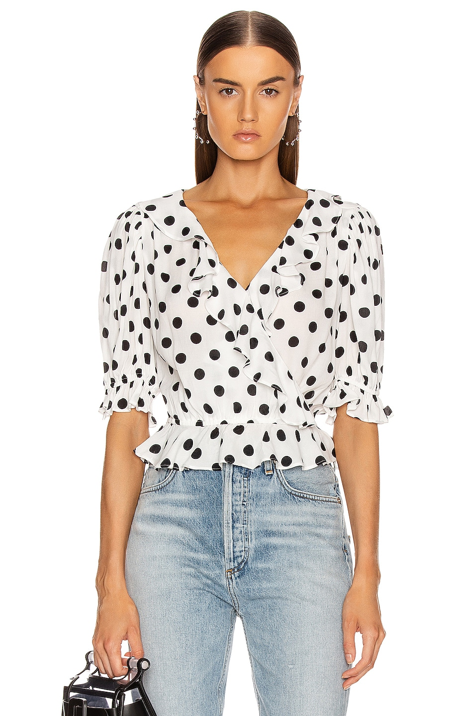 Image 1 of ICONS Objects of Devotion Cha Cha Blouse in White & Black Polka Dot