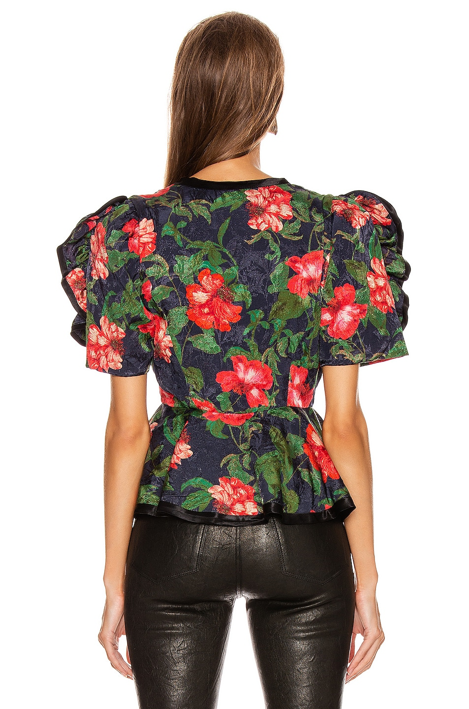 Image 3 of ICONS Objects of Devotion The Rose Peplum Top in Navy Red Rose