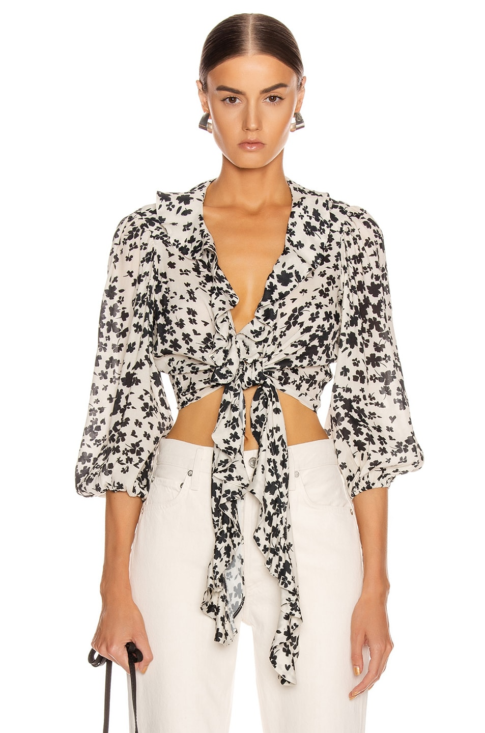 Image 1 of ICONS Objects of Devotion The Doherty Top in Ivory Black Floral