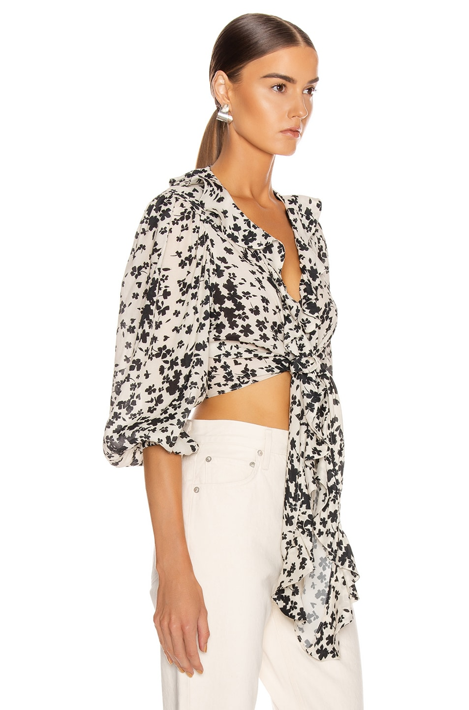Image 2 of ICONS Objects of Devotion The Doherty Top in Ivory Black Floral