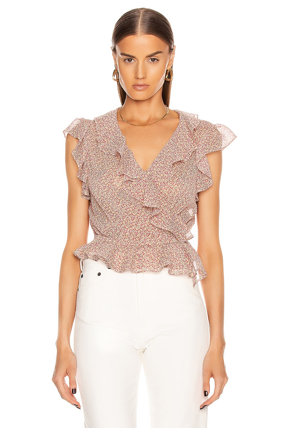 Image 1 of ICONS Objects of Devotion The Flutter Sleeve Blouse in Pink Poppy