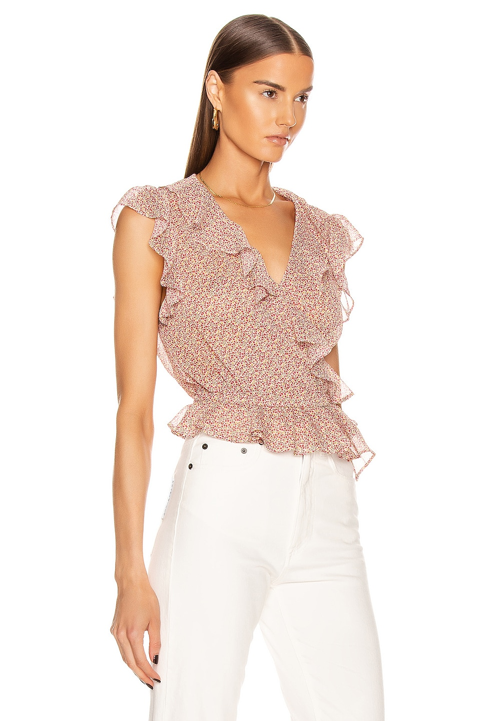 Image 2 of ICONS Objects of Devotion The Flutter Sleeve Blouse in Pink Poppy
