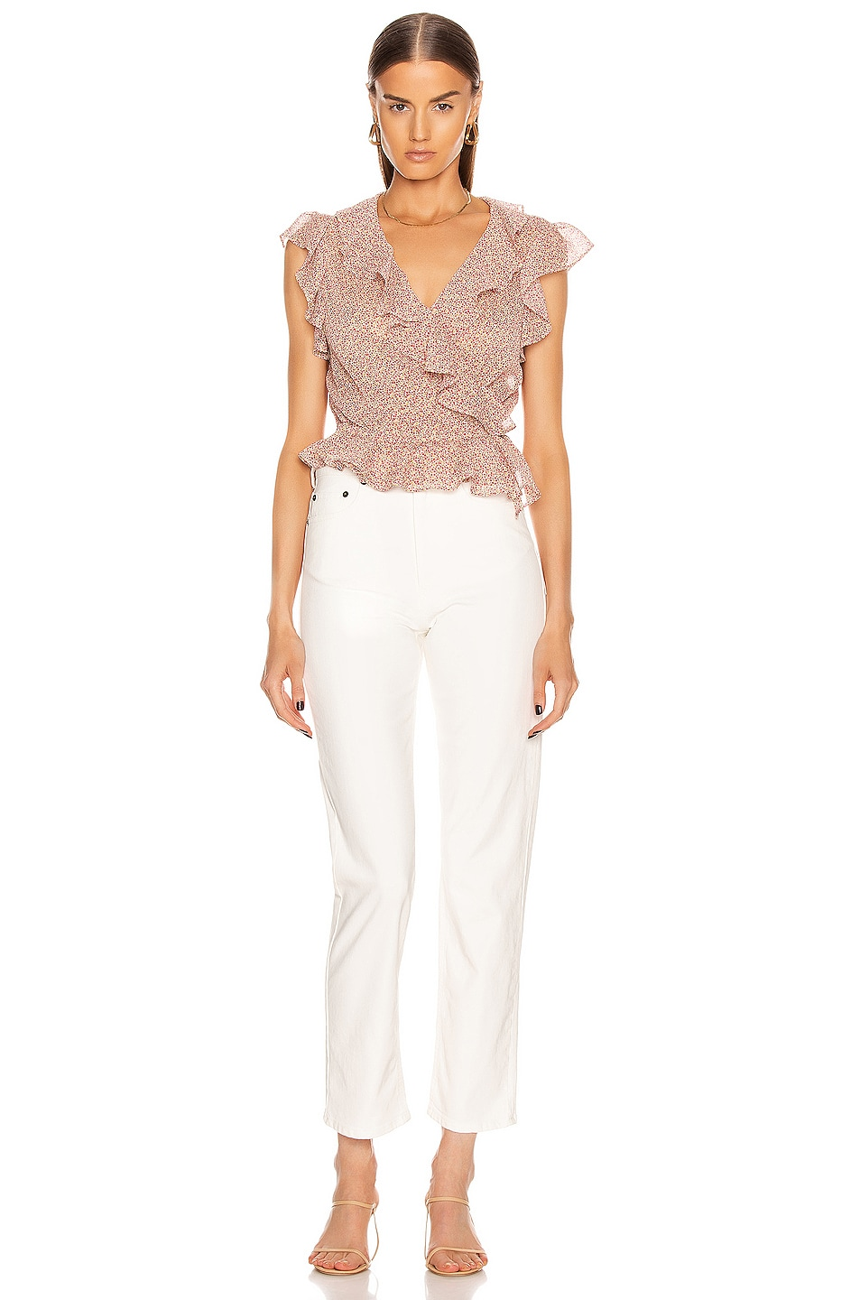 Image 5 of ICONS Objects of Devotion The Flutter Sleeve Blouse in Pink Poppy