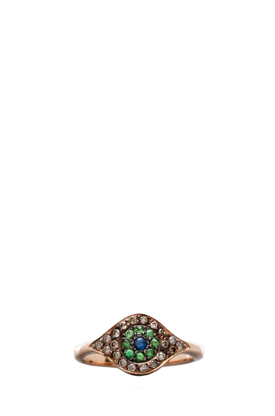 Image 1 of Ileana Makri Cat's Eye Diamond and Sapphire Ring in Pink Gold