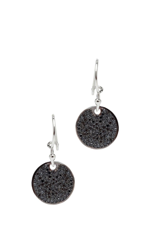 Image 1 of Ileana Makri Diamond Disc White Gold Earrings in Black Oxidized