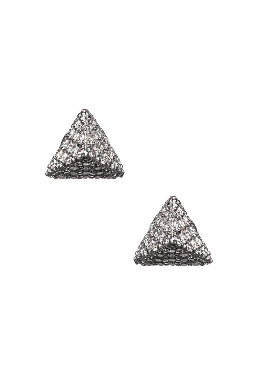 Image 1 of Ileana Makri Pyramid Stud Earrings in White Gold