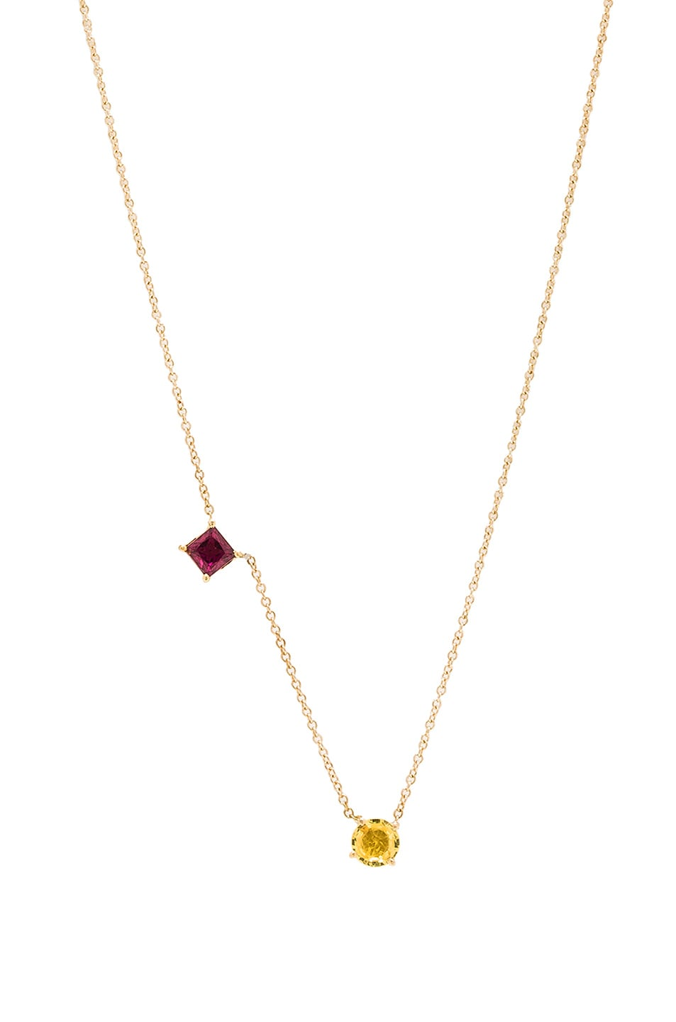 Image 1 of Ileana Makri Round & Square Necklace in Yellow Gold