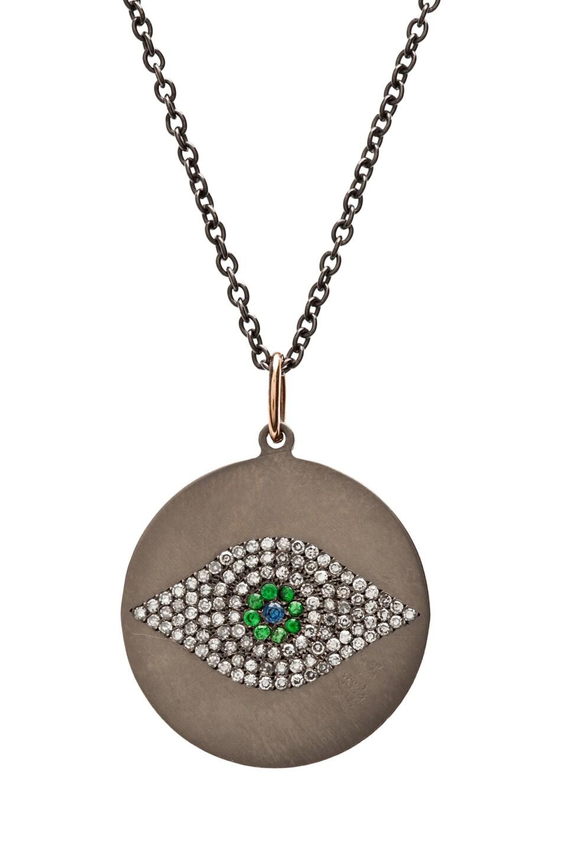 Image 1 of Ileana Makri Evil Eye Tsavorites Necklace in Rose Gold & Titan
