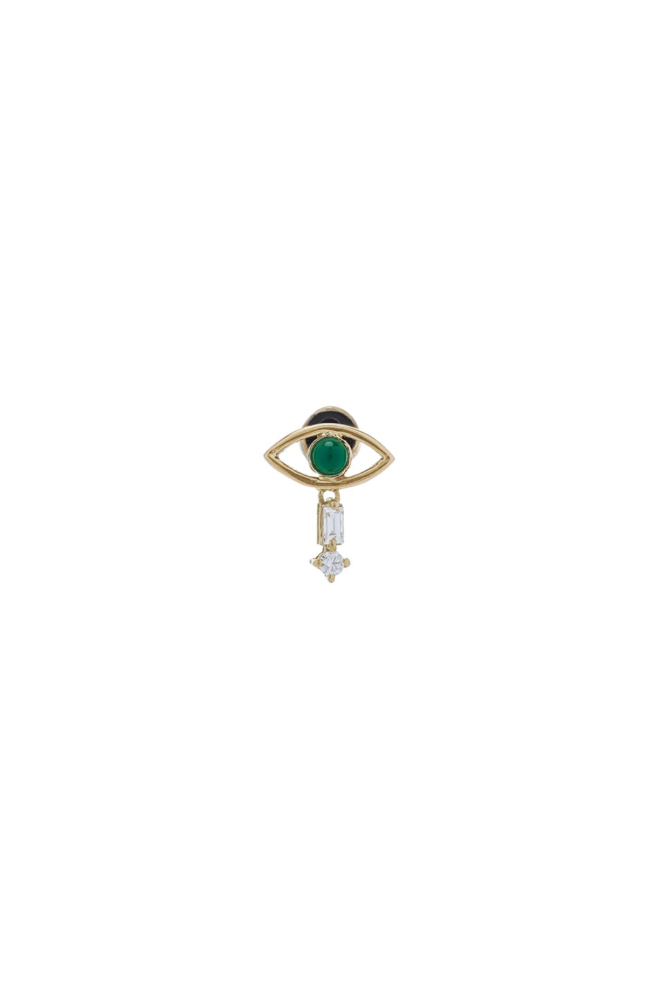 Image 1 of Ileana Makri Tiny Single Eye Stud Earring in Yellow Gold & Emerald