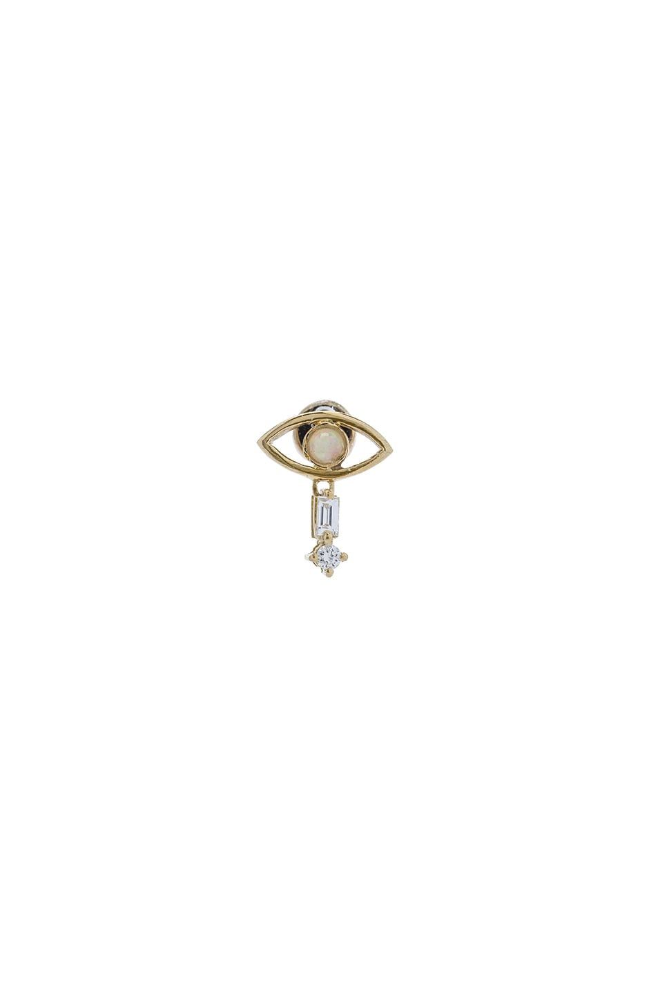 Image 1 of Ileana Makri Tiny Single Eye Stud Earring in Yellow Gold & Opal