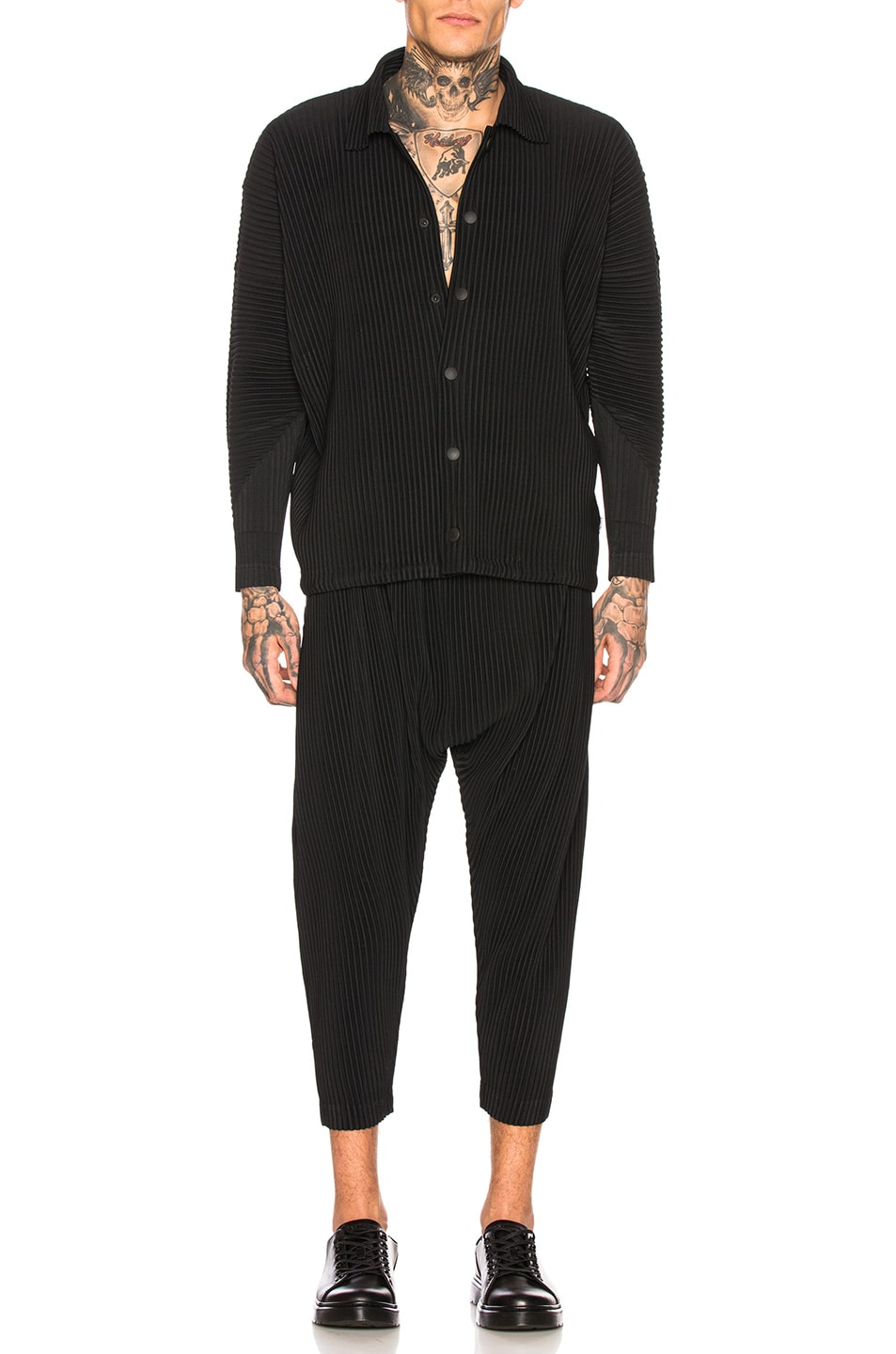 Image 4 of Issey Miyake Homme Plisse Botttoms 2 Drop Crotch in Black