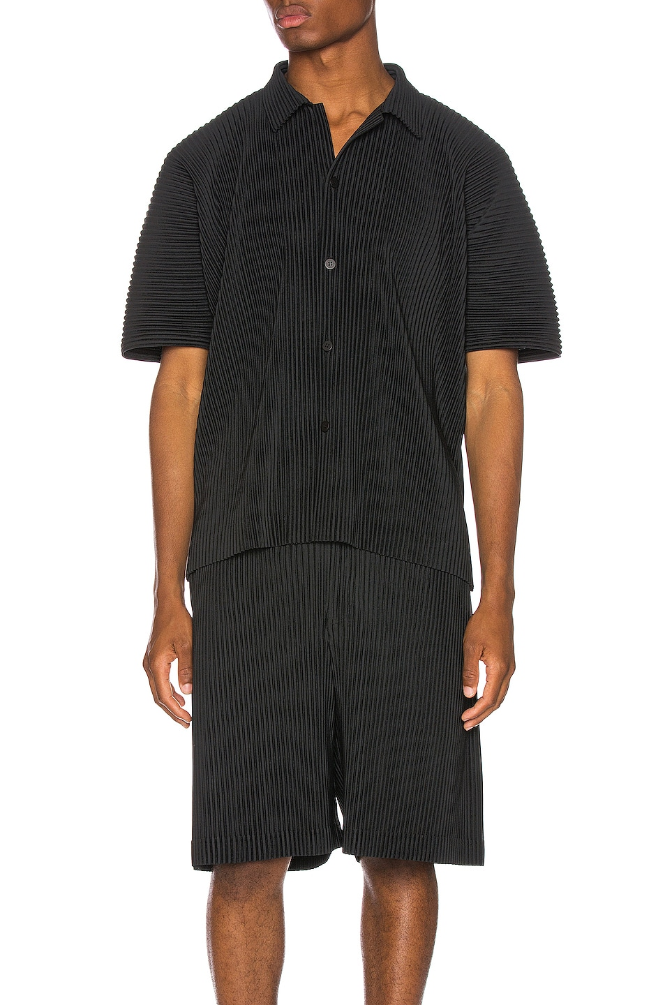 Image 1 of Issey Miyake Homme Plisse Button Shirt in Black