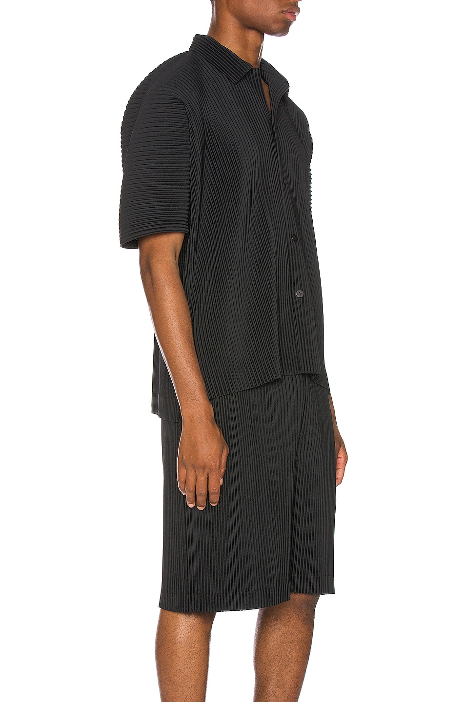Image 2 of Issey Miyake Homme Plisse Button Shirt in Black