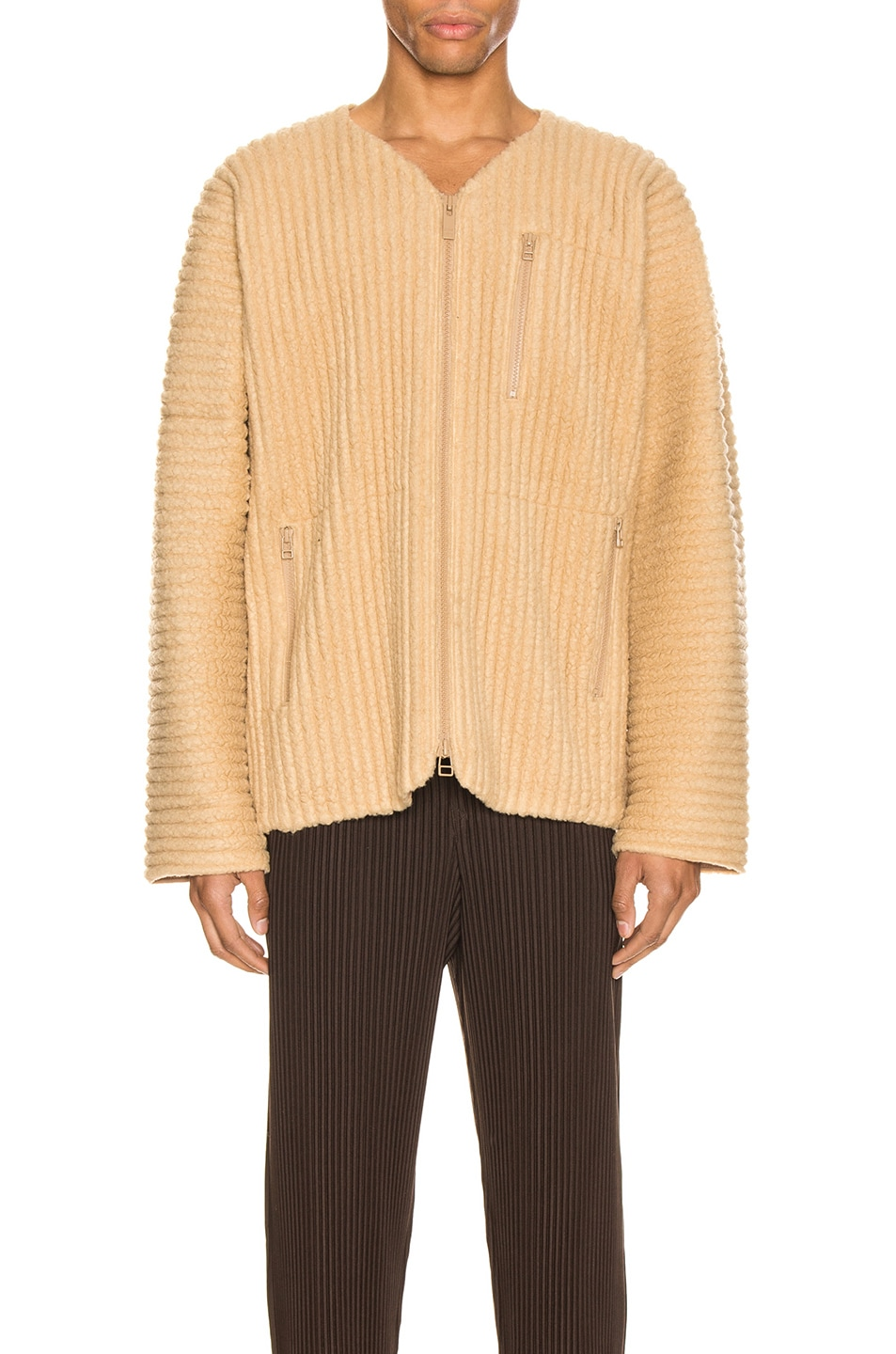 Image 1 of Homme Plisse Issey Miyake Fleece Shirt in Light Beige
