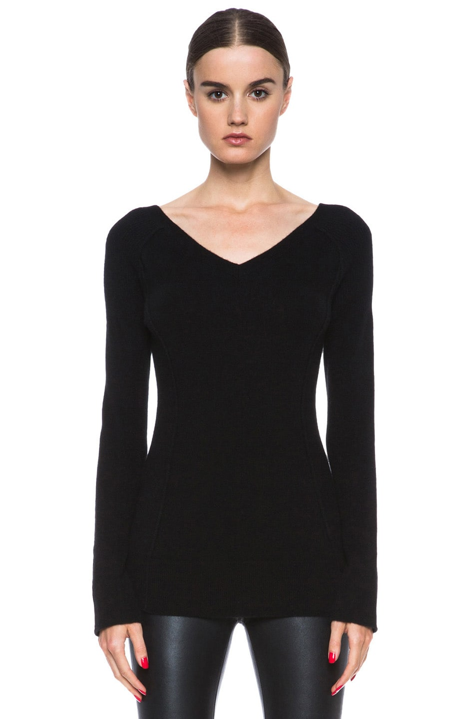 Image 1 of Inhabit Cashmere Double V-Neck Sweater in Black