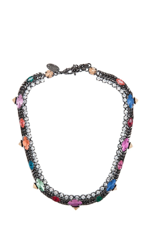 Image 1 of Iosselliani Rhinestone Antique Brass Necklace in Multi