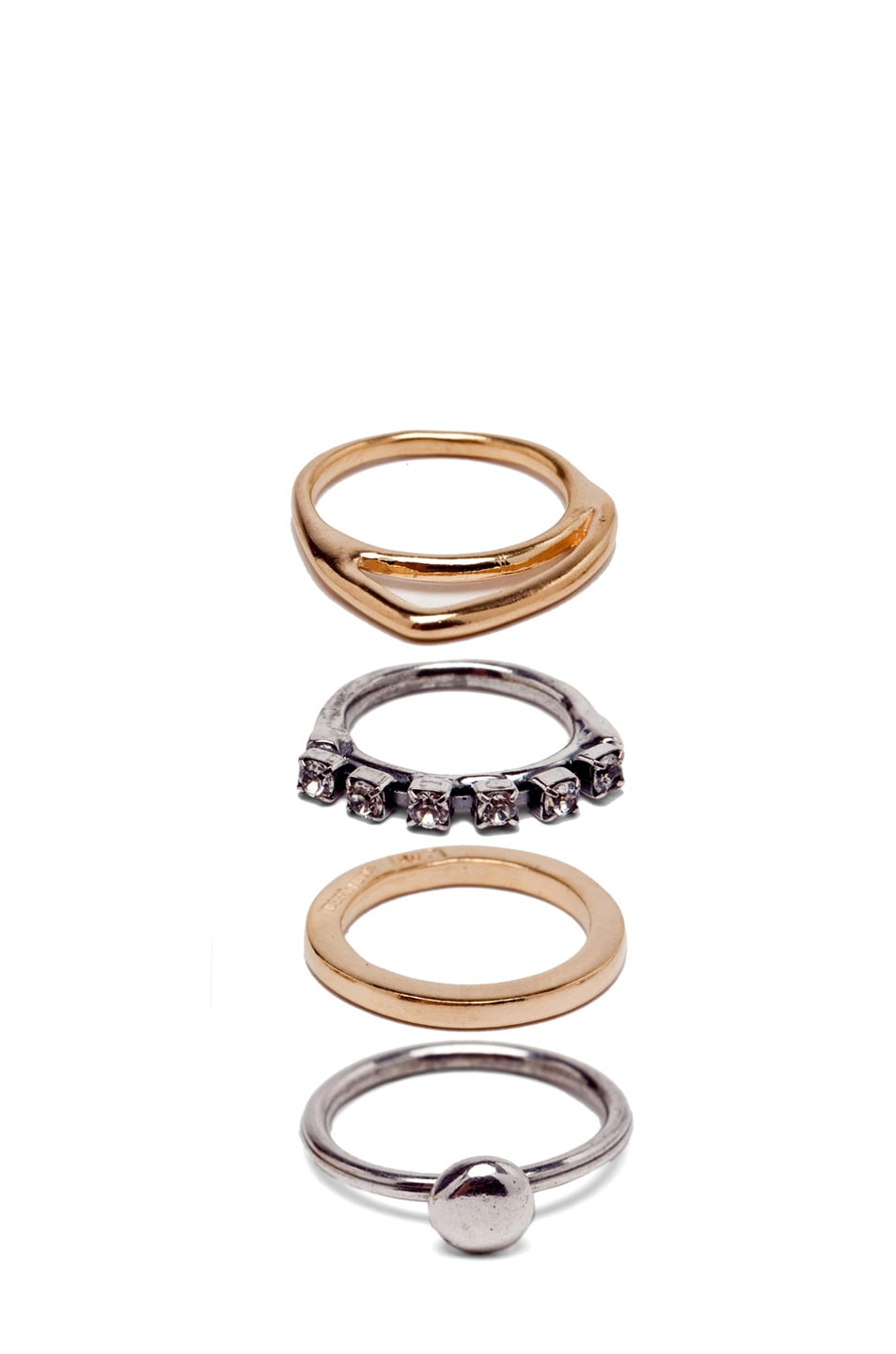 Image 2 of Iosselliani Set of Rhinestone Rings in in Silver & Gold