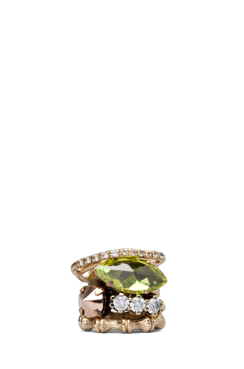 Image 1 of Iosselliani Set of 4 Rings with Swarovski Stones in Green