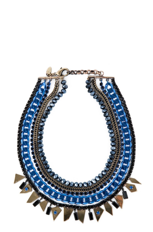 Image 1 of Iosselliani Multi Strand Rhinestone Necklace in Blue