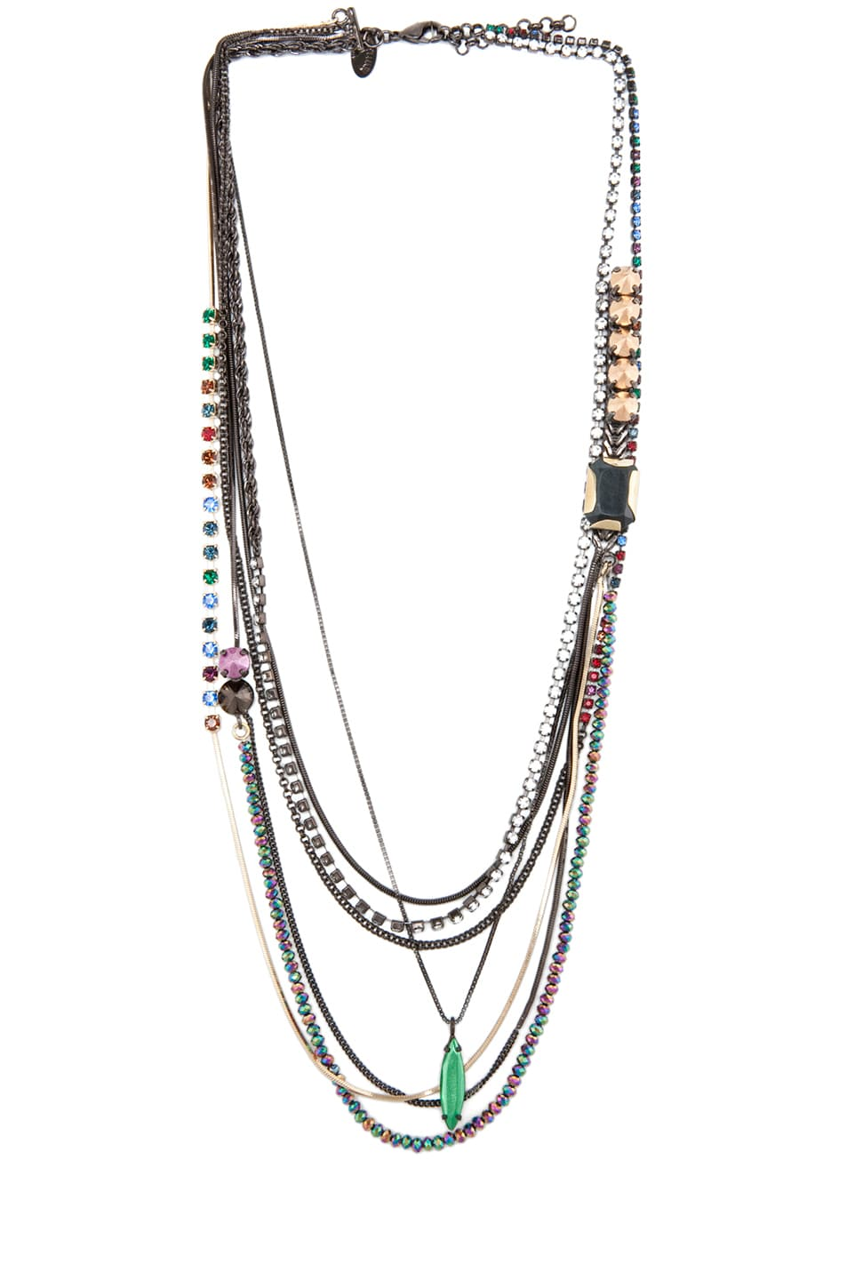 Image 1 of Iosselliani Long Multi Strand Necklace in Multi