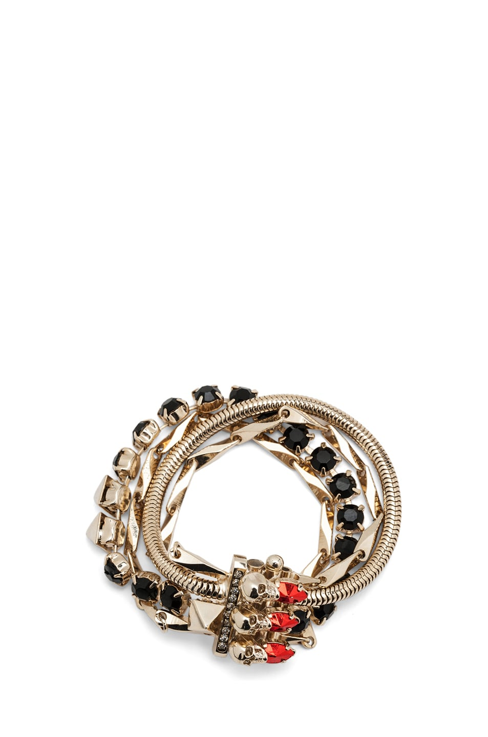 Image 1 of Iosselliani Multi Chain Antique Brass Bracelet in Red