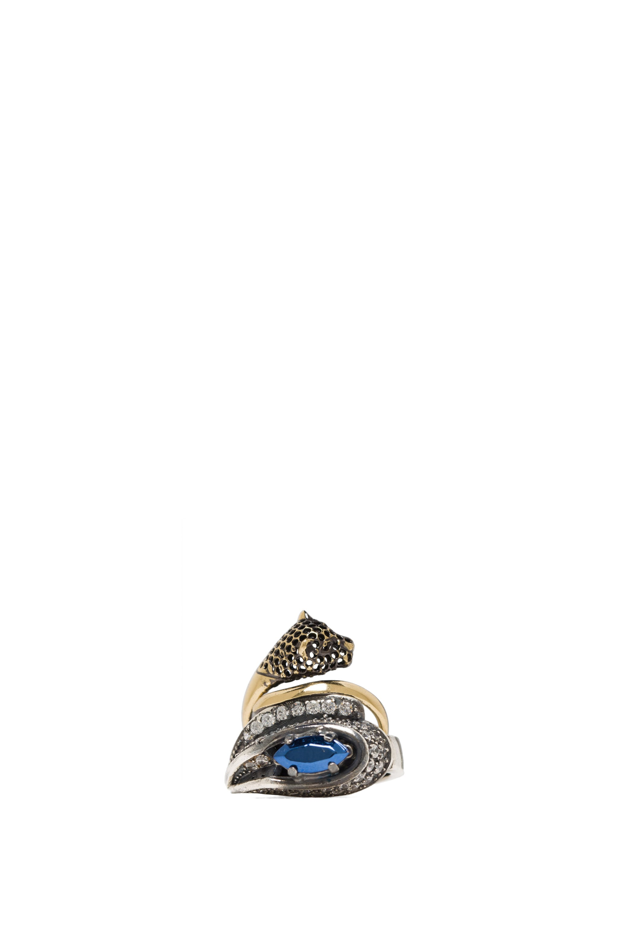 Image 1 of Iosselliani Ring Set with Fused Stone in Crystal & Blue