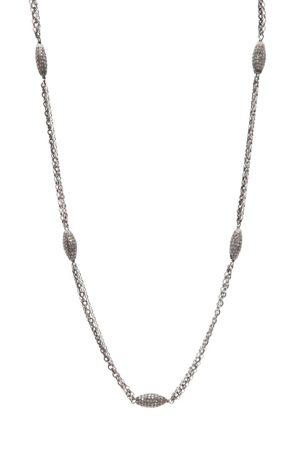 Image 1 of Irit Design Long Triple Chain Diamond Necklace in Silver