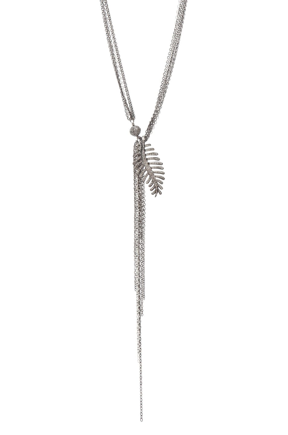 Image 2 of Irit Design Feather Diamond Necklace in Silver