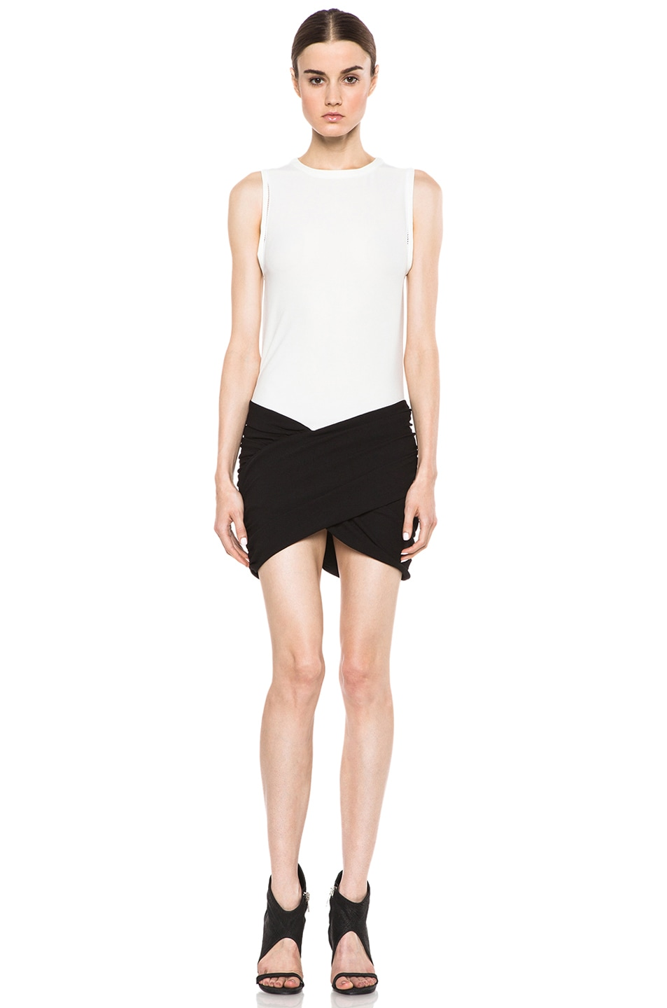 Image 1 of IRO Eruno Acetate-Blend Dress in Blanc & Noir