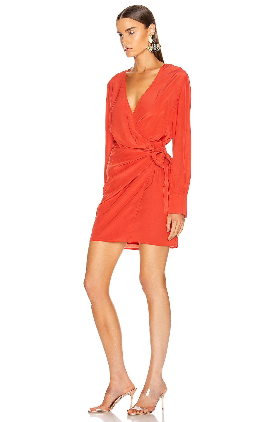Image 3 of IRO Ophie Dress in Coral Fluorescent