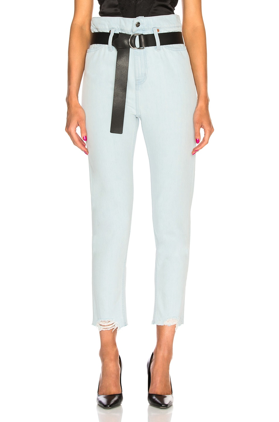 Image 1 of IRO Aven High Rise Belted Straight in Light Blue