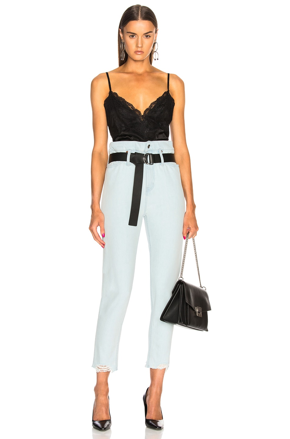 Image 4 of IRO Aven High Rise Belted Straight in Light Blue