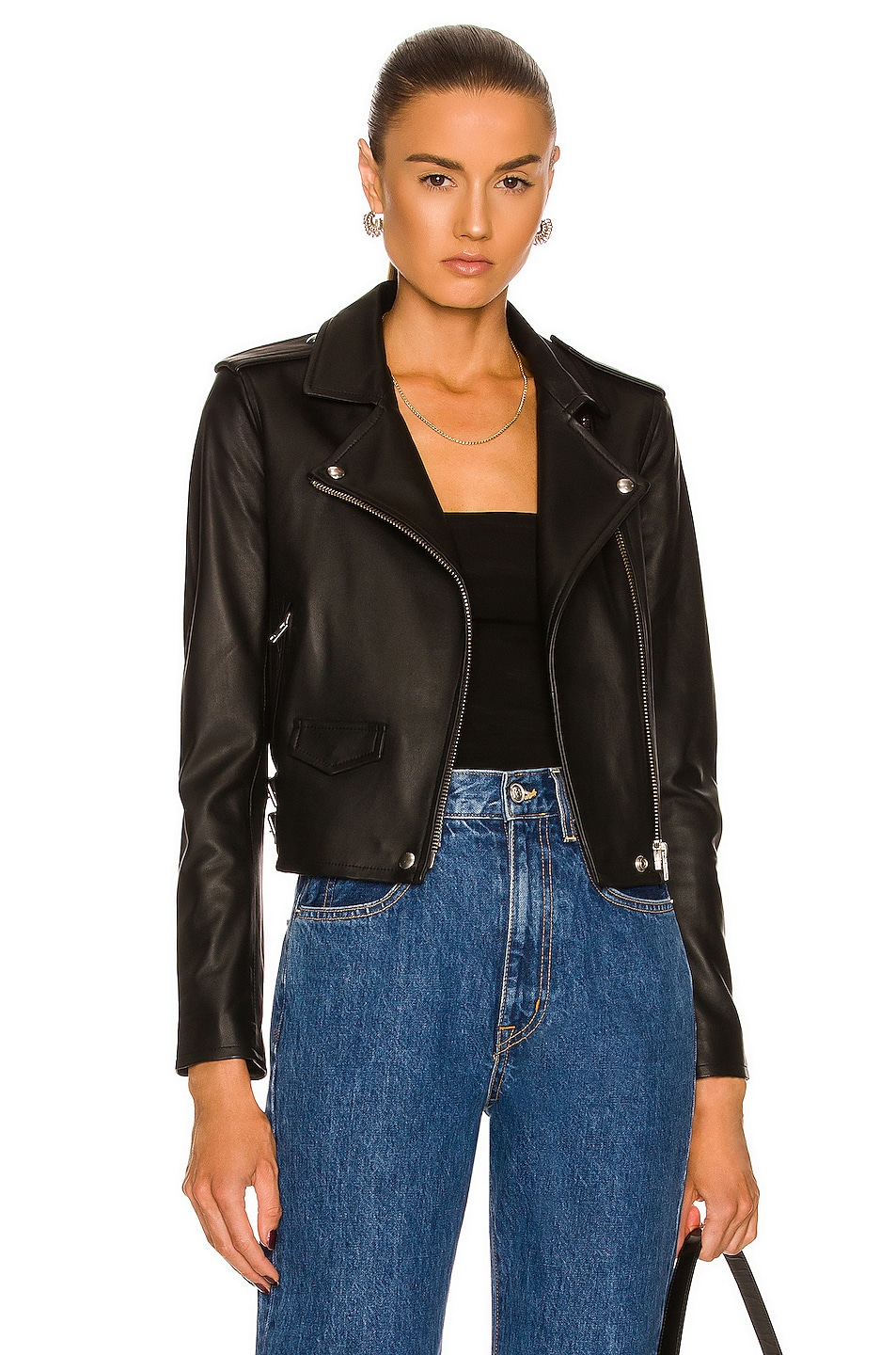 Image 1 of IRO Ashville Leather Moto Jacket in Black