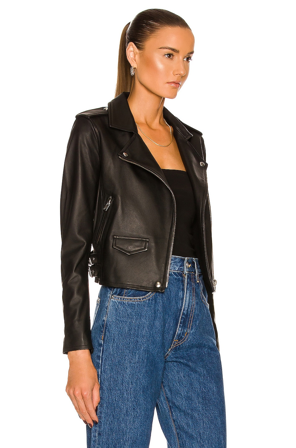 Image 3 of IRO Ashville Leather Moto Jacket in Black
