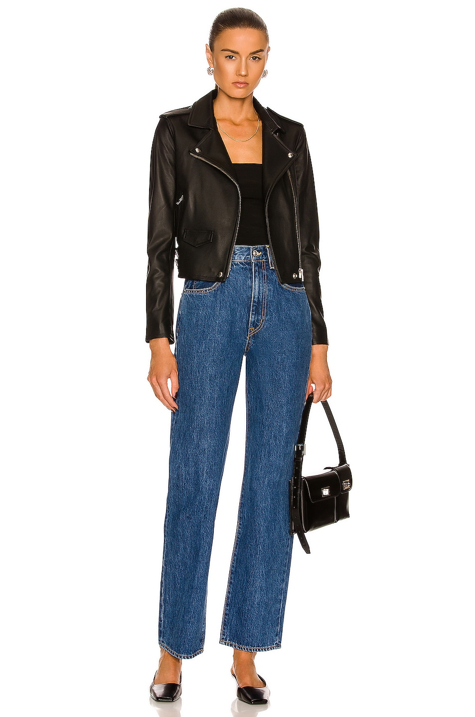 Image 5 of IRO Ashville Leather Moto Jacket in Black
