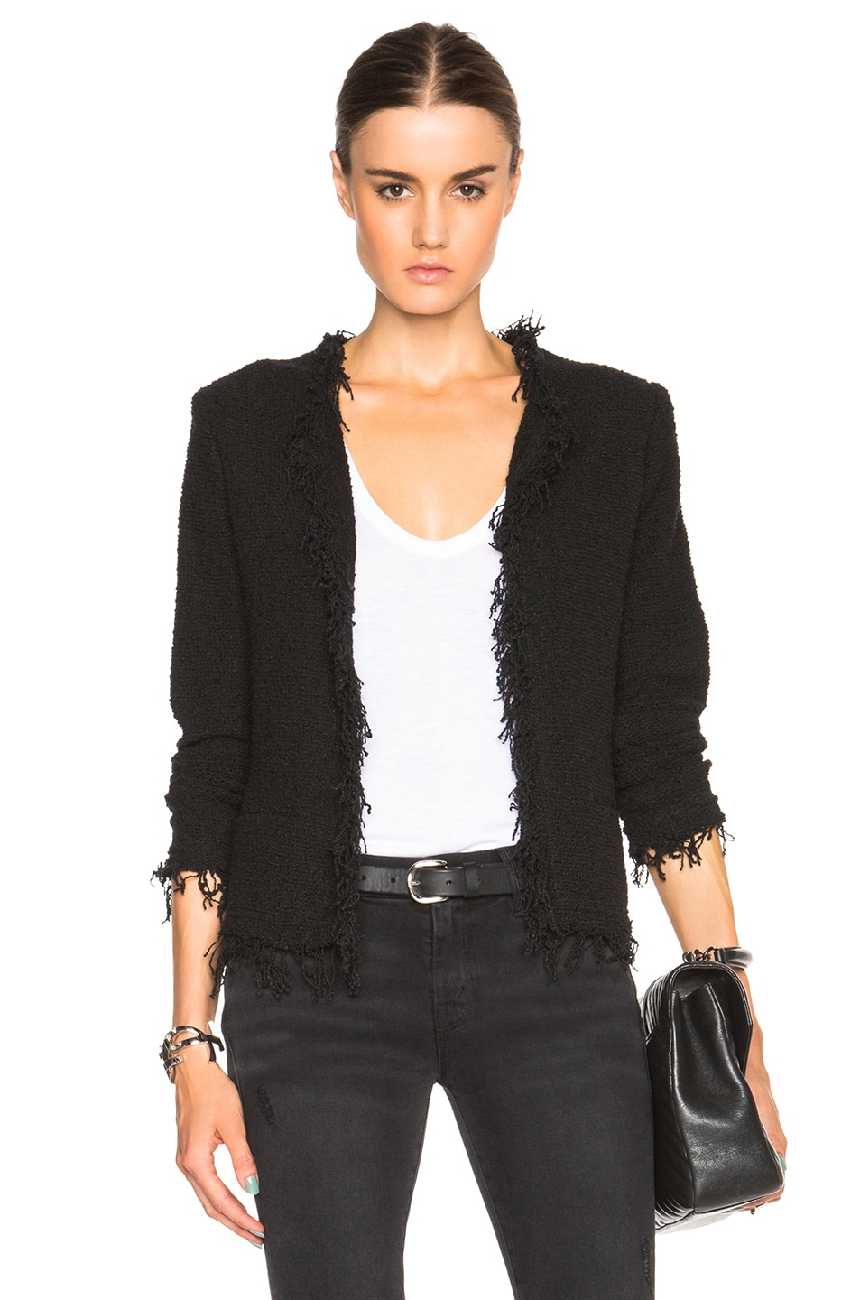 Shavani Frayed Cotton-Blend Bouclé Jacket in Black